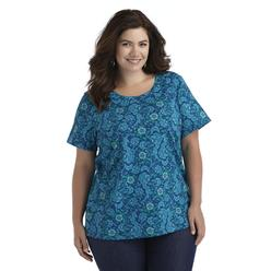 Basic Editions Women's Plus Knit Top - Floral Print at Kmart.com