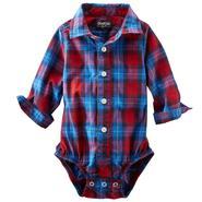 OshKosh Newborn & Infant Boy's Long-Sleeve Poplin Bodysuit - Plaid at Sears.com