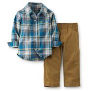 Carter's Newborn & Infant Boy's Woven Shirt & Pants - Plaid & Airplane at Sears.com