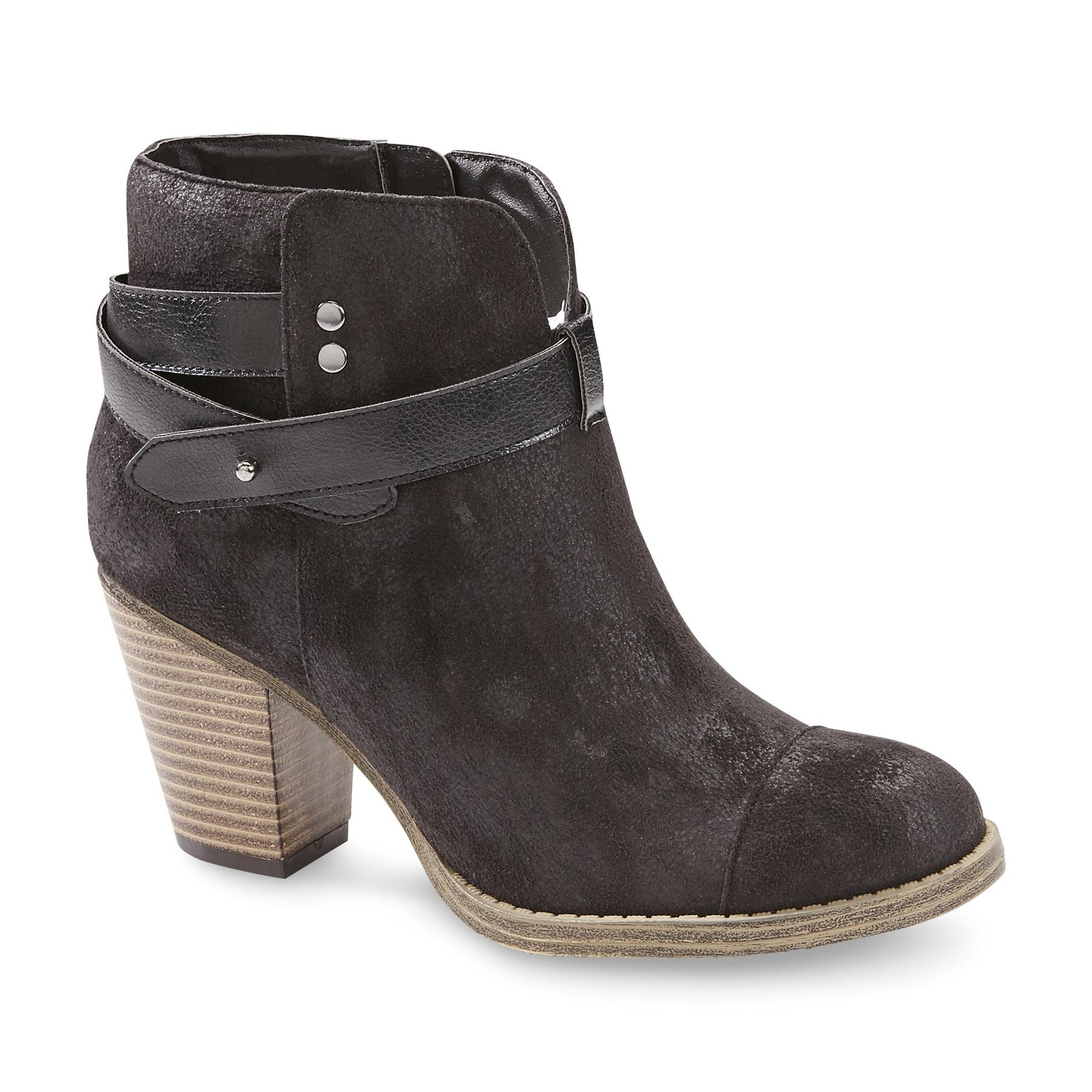 Women's Crystal Waxed Microsuede Ankle Boot - Black