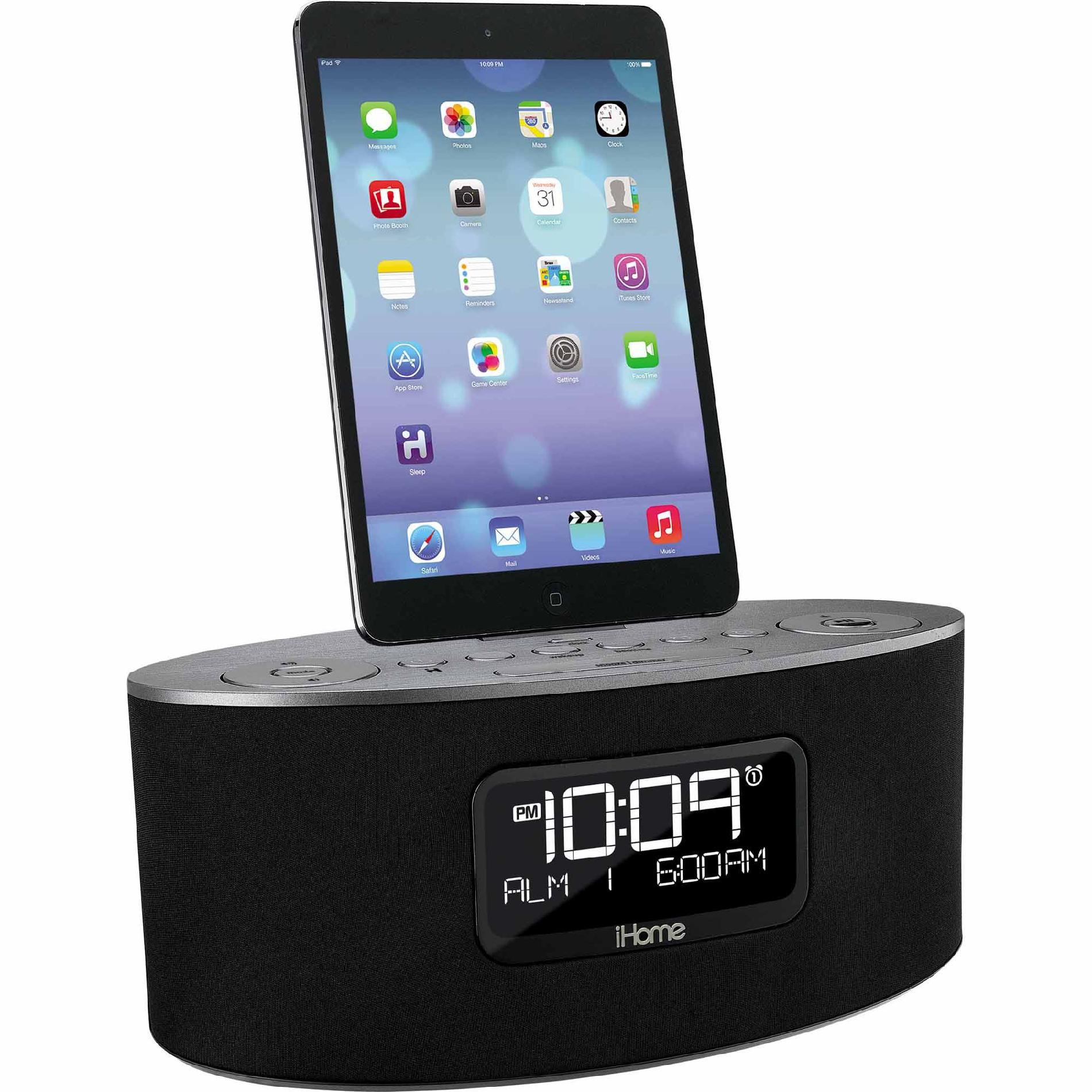 Dual-Charging-Stereo-FM-Clock-Radio-w-Lightning-Dock-and-USB-Charge-Play-for-iPad-iPhone-iPod