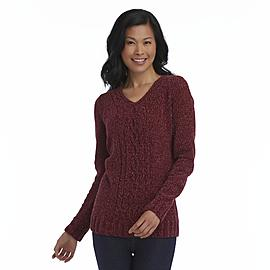 Basic Editions Women's Cable Knit Chenille Sweater at Kmart.com
