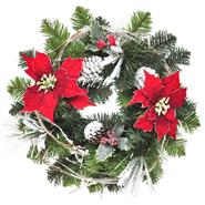 Sandra by Sandra Lee Merry Holiday Poinsettia Pine Wreath, 18 in at Kmart.com