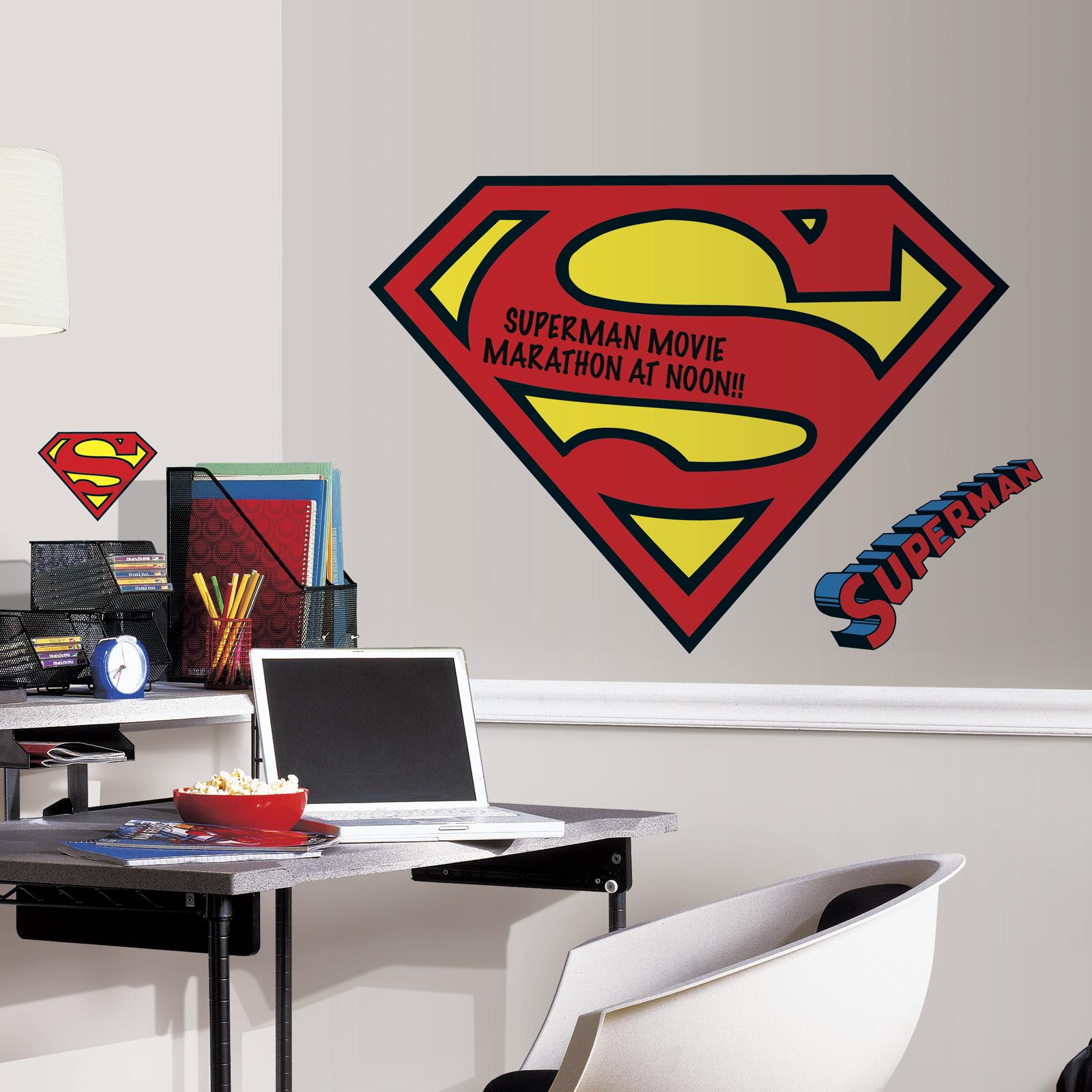 RoomMates Superman Logo Dry Erase Peel and Stick Giant Wall Decals PartNumber: 03003199000P KsnValue: 8634598 MfgPartNumber: RMK2624SLM