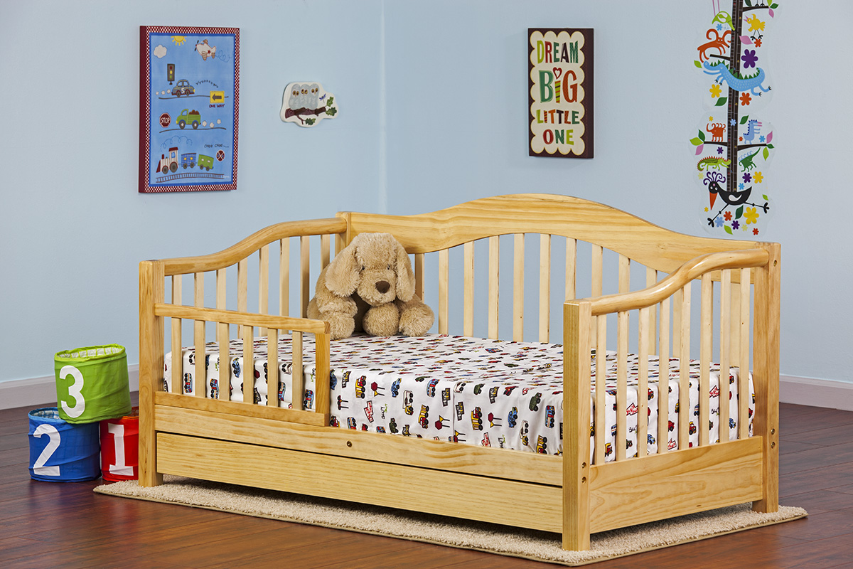 Dream On Me Toddler Day Bed with Storage Drawer, Natural ...