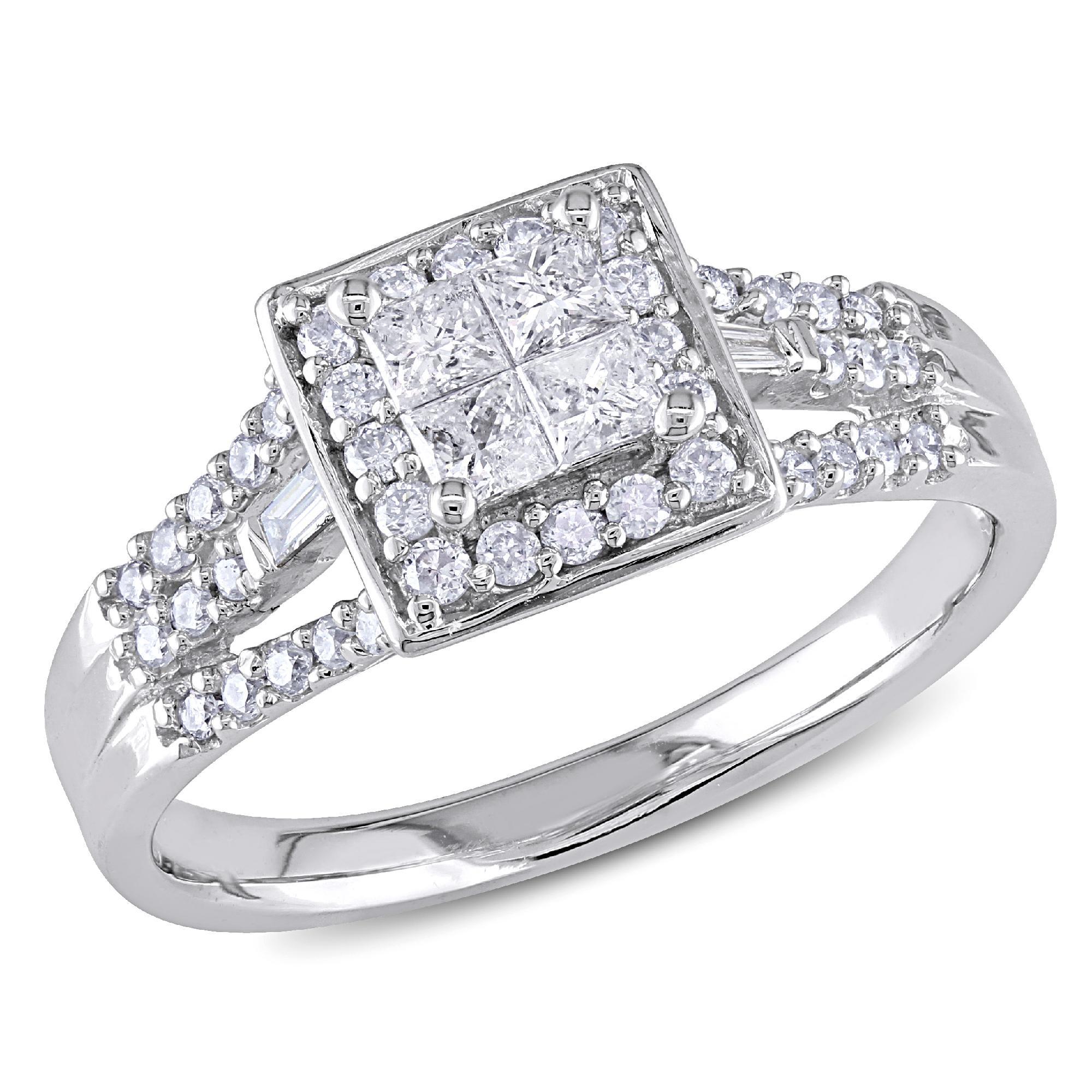 10k White Gold 0.53 CTTW Diamond Engagement Ring