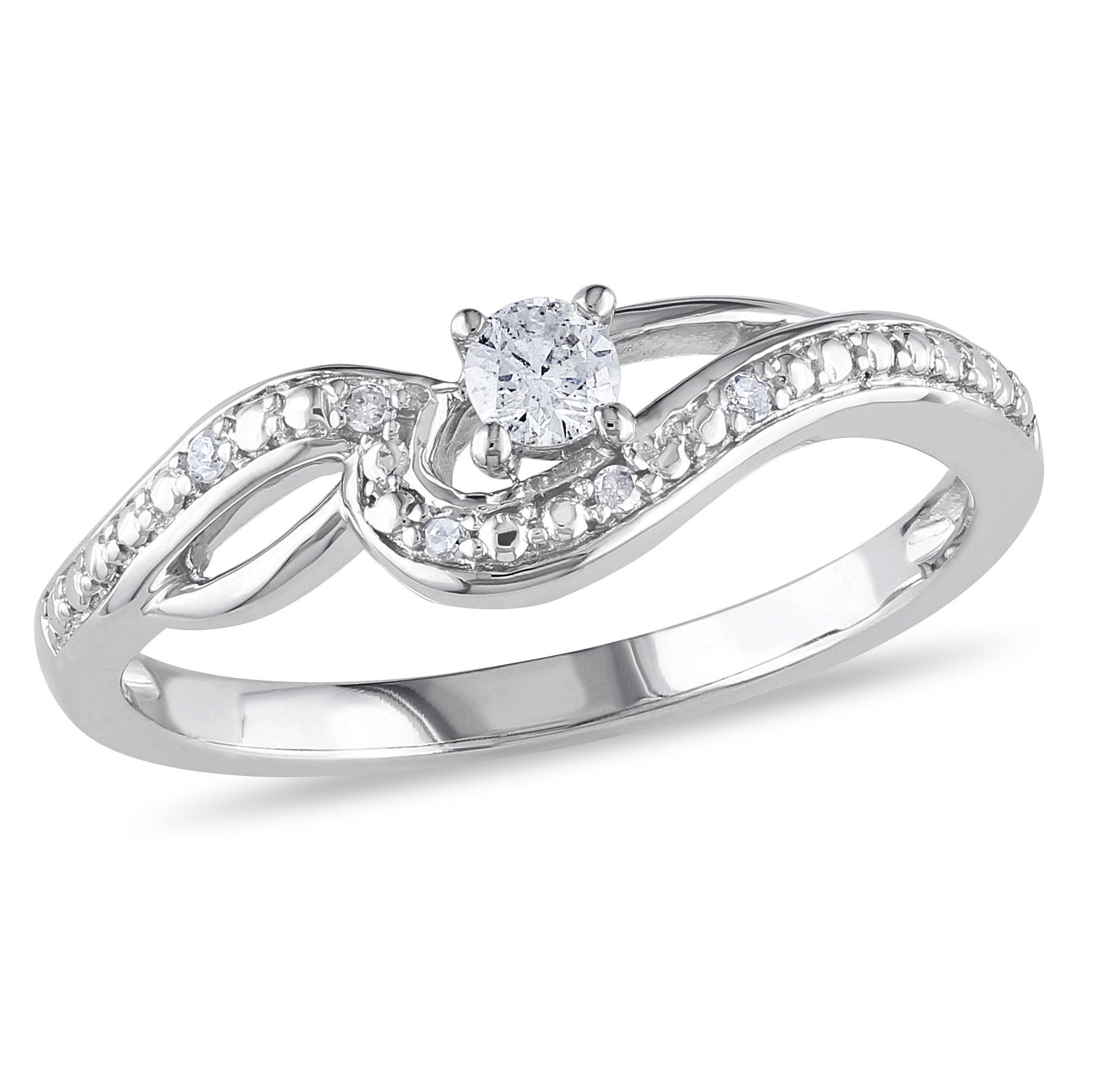 10k White Gold 0.15 CTTW Diamond Infinity Ring