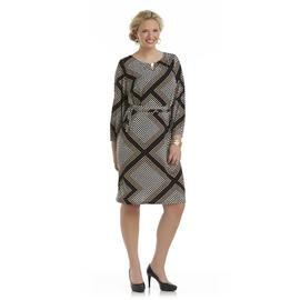 Another Thyme Women's Plus Long-Sleeve Knit Dress - Dot Print at Sears.com