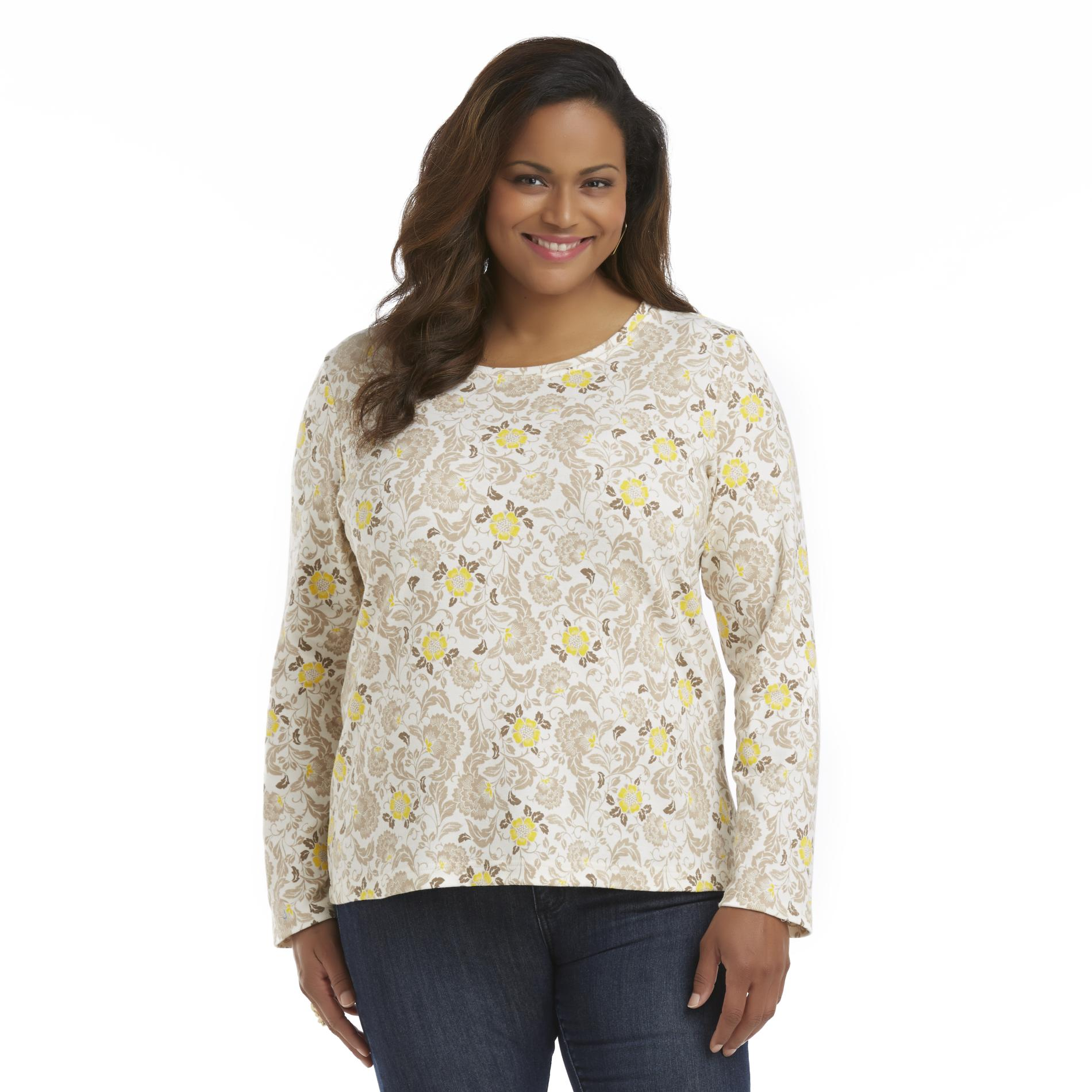 Basic Editions Women's Plus Long-Sleeve Shirt - Floral at Kmart.com