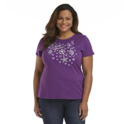 Holiday Editions Women's Plus Short-Sleeve Christmas T-Shirt - Snow at Kmart.com