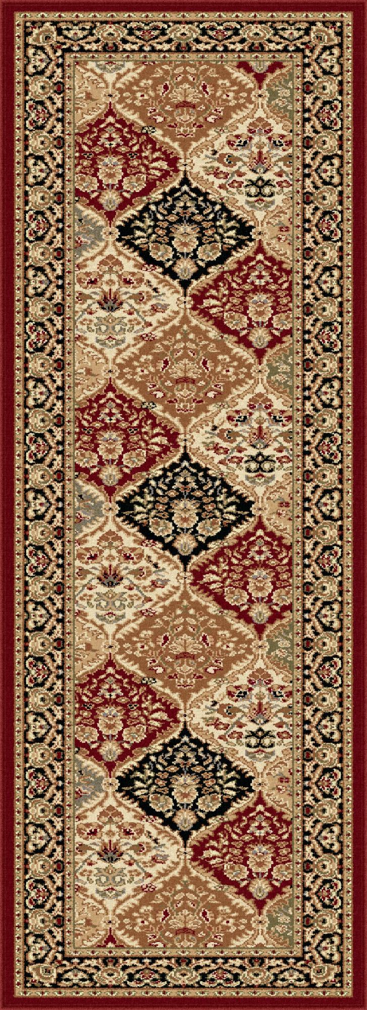 Tayse Rugs Sensation Princeton Red 2 ft. 7 in. x 7 ft. 3 in. Traditional Runner