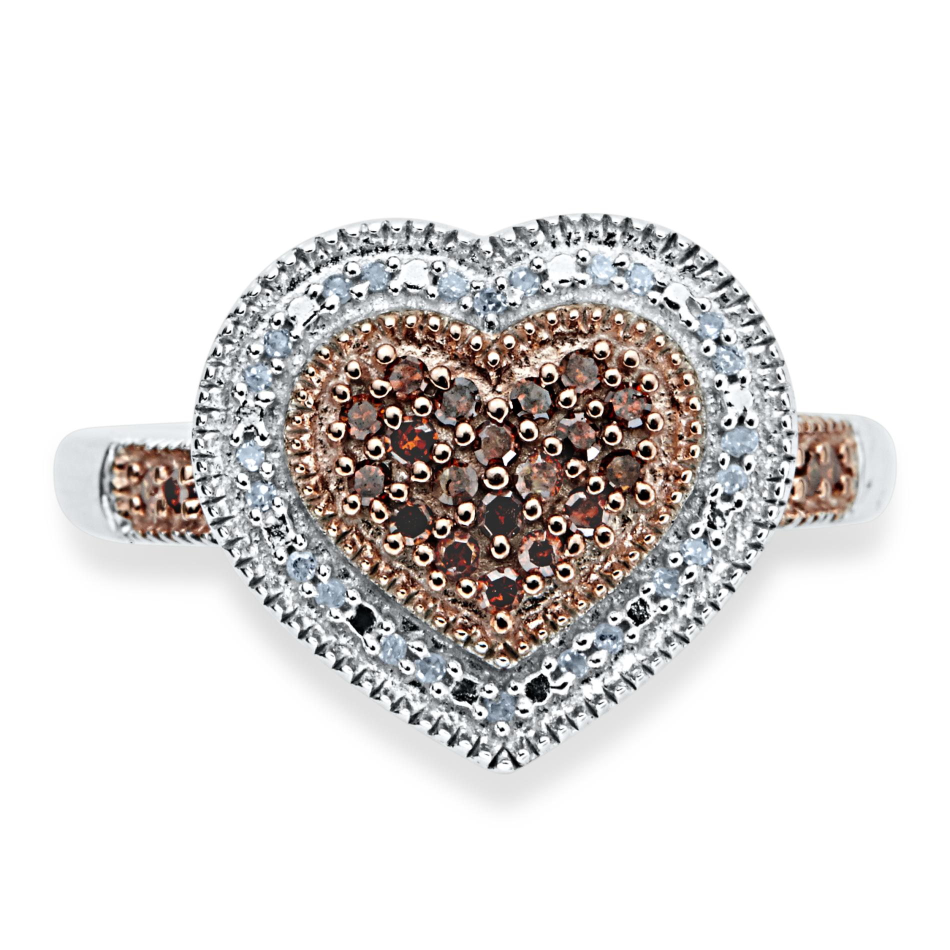 1/4 Cttw. Diamond Sterling Silver Heart Cluster Ring