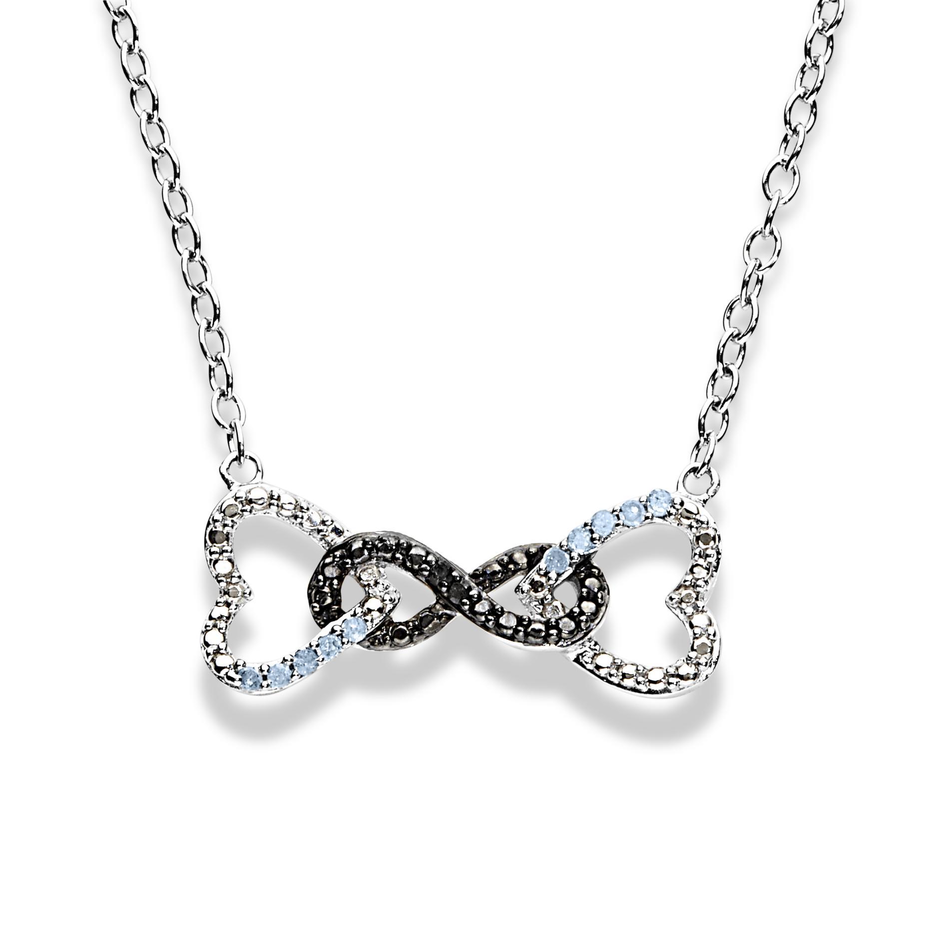.10 Cttw. Diamond Rhodium Over Silver Hearts & Infinity Pendant Necklace