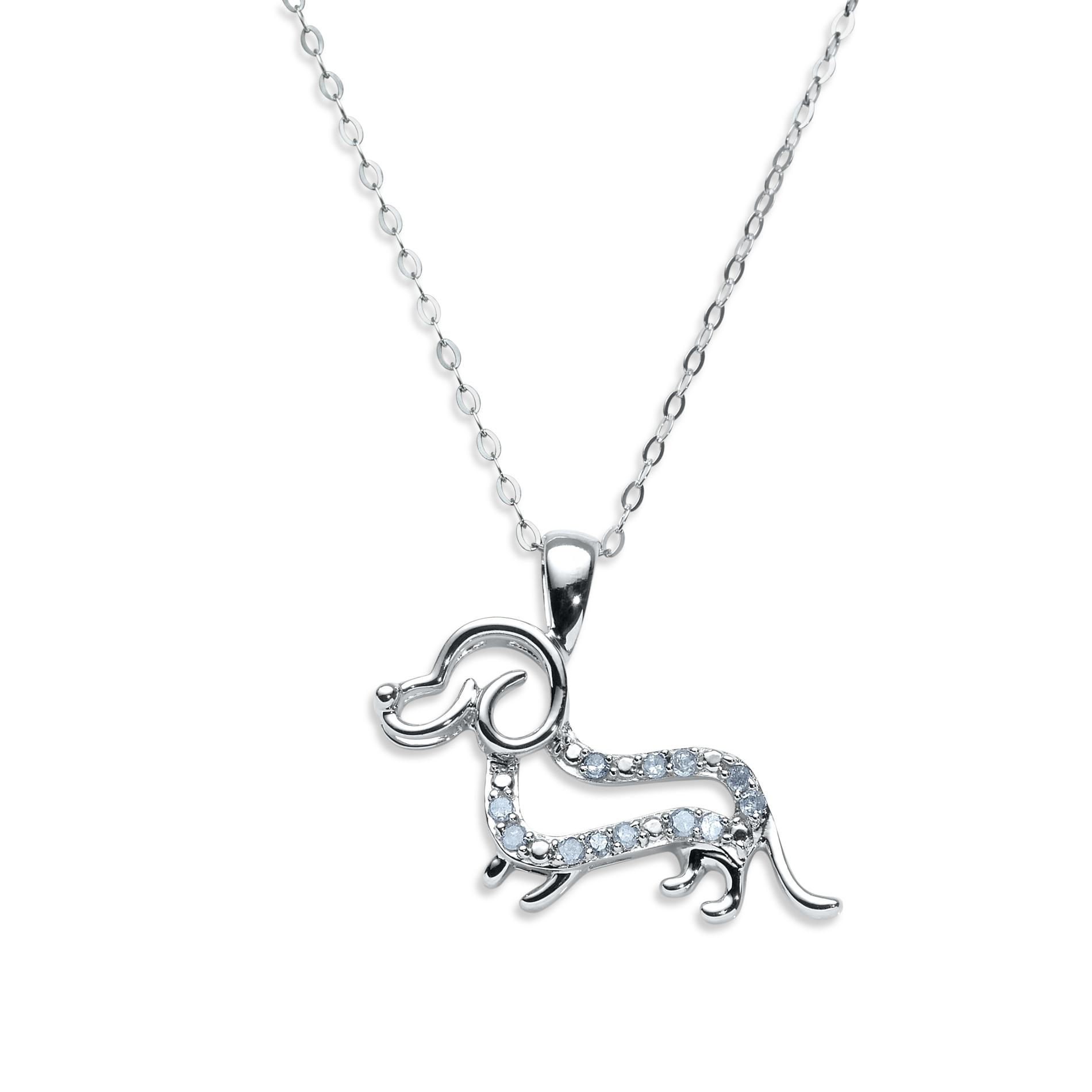 .10 Cttw. Diamond Sterling Silver Dachshund Dog Pendant Necklace