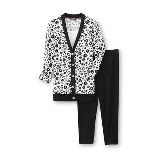 Tempted Apparel Girl's Embellished Cardigan Top & Leggings - Leopard Print