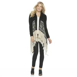 Canyon River Blues Women's Fringe Sharkbite Cardigan - Geometric at Sears.com