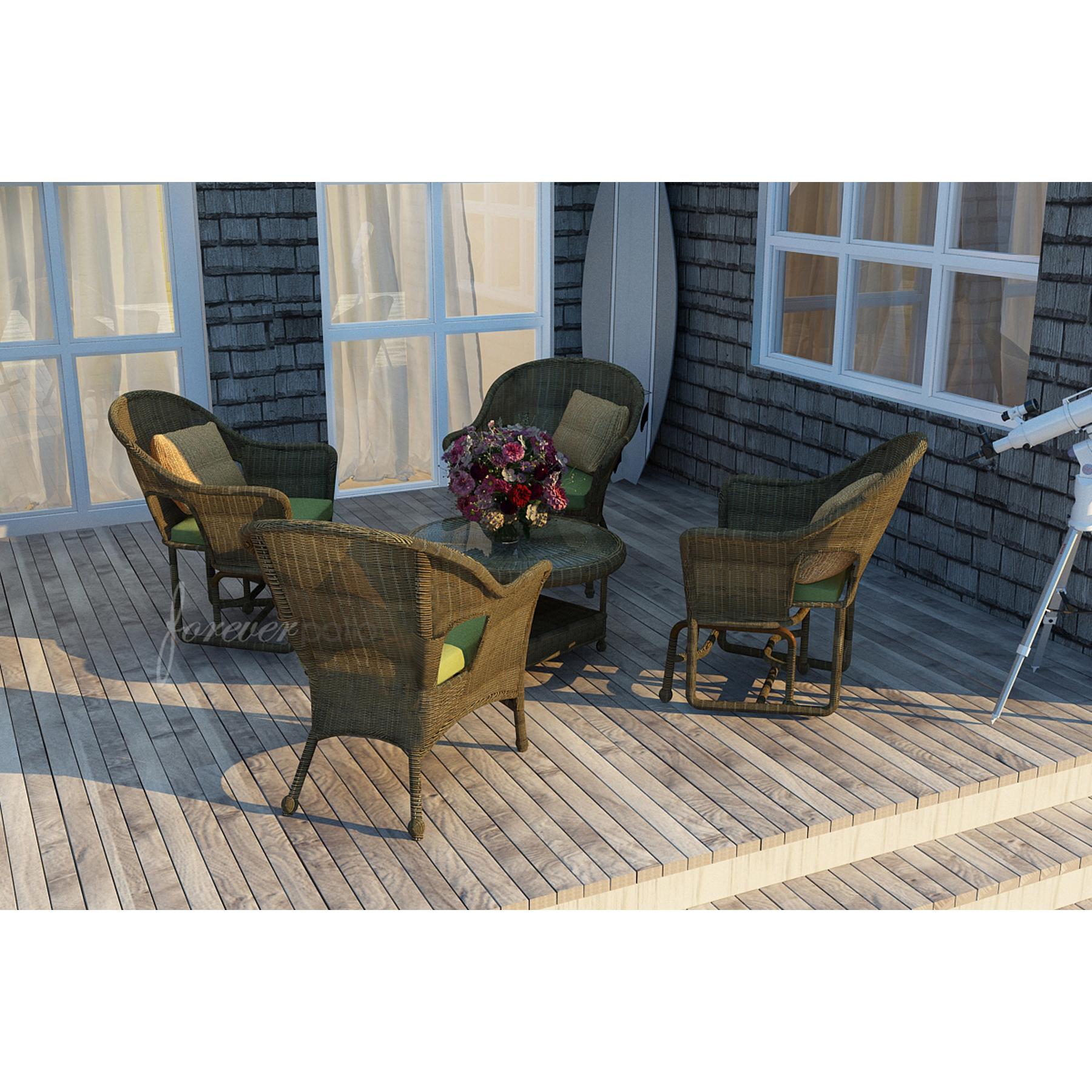 Forever Patio Rockport 5pc Patio at Set featuring Sunbrella® in Spectrum Cilantro