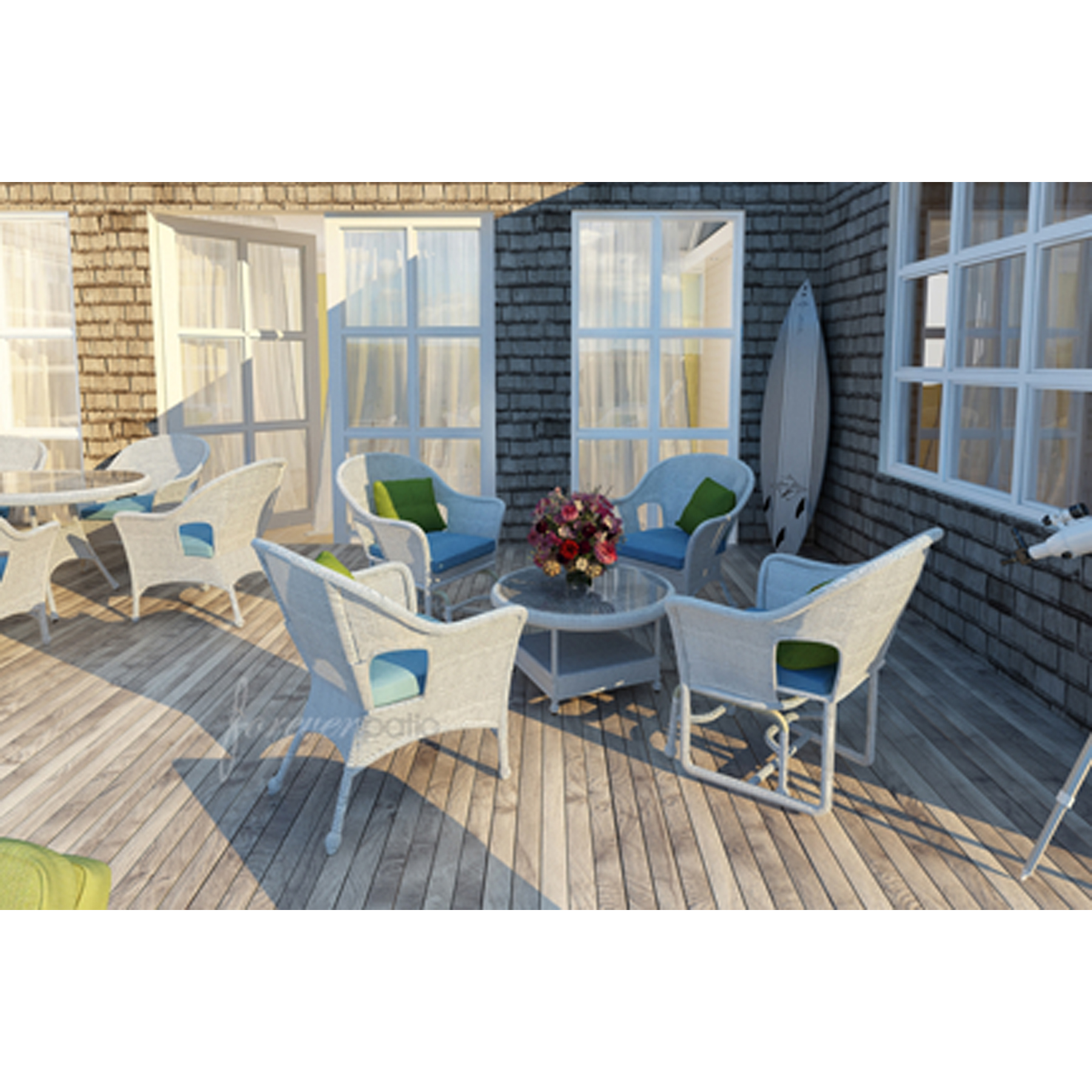 Forever Patio Rockport 5pc Patio at Set featuring Sunbrella® in Canvas Air Blue