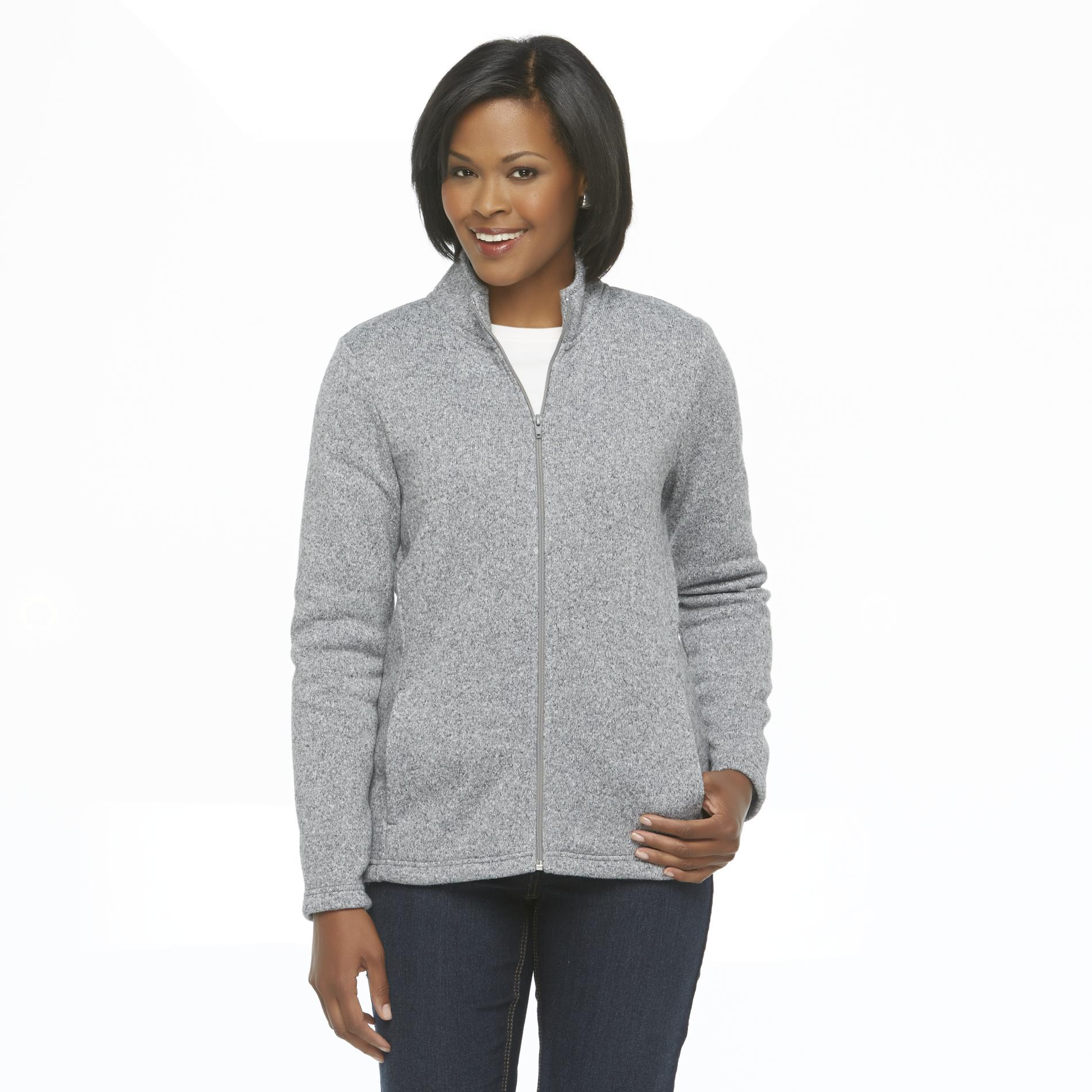 Basic Editions Women's Sweater Jacket - Heathered at Kmart.com