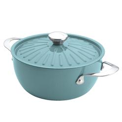 Cucina Oven-To-Table Hard Enamel Nonstick 4-1/2-Quart Covered Round Casserole, Agave Blue at Kmart.com