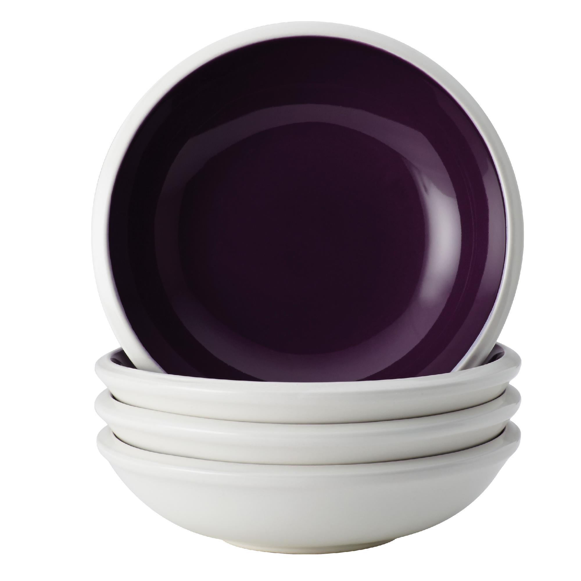 Dinnerware Rise 4-Piece Stoneware Fruit Bowl Set, Purple