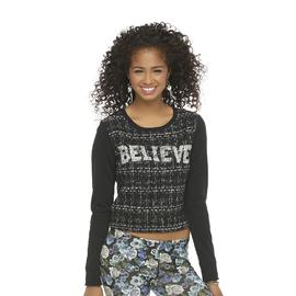 Seventeen Junior's Boucle Crop Sweatshirt - Believe at Sears.com
