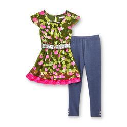 Piper Girl's Dress, Belt & Leggings - Heart Print at Kmart.com