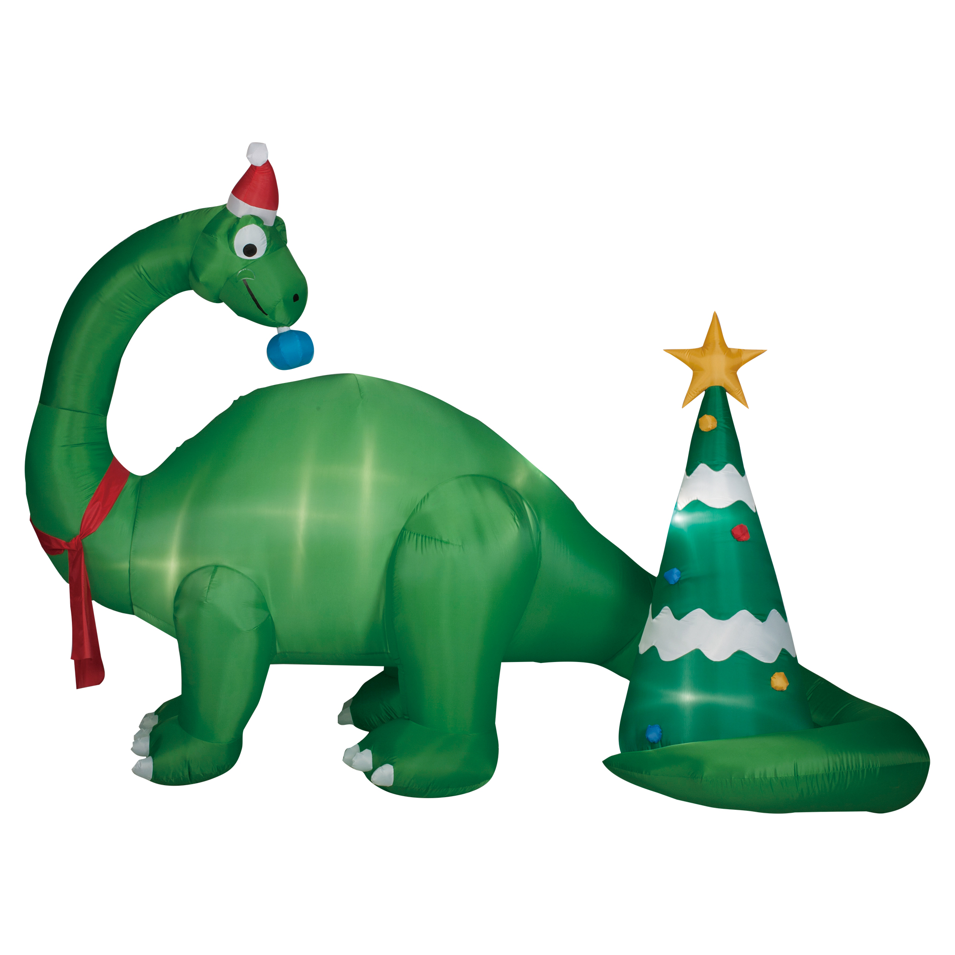 95 foot brontosaurus scene inflatable decoration - Dinosaur Christmas Decorations