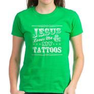 CafePress Women's Dark Jesus Loves Me and My Tattoos Shirt at Kmart.com