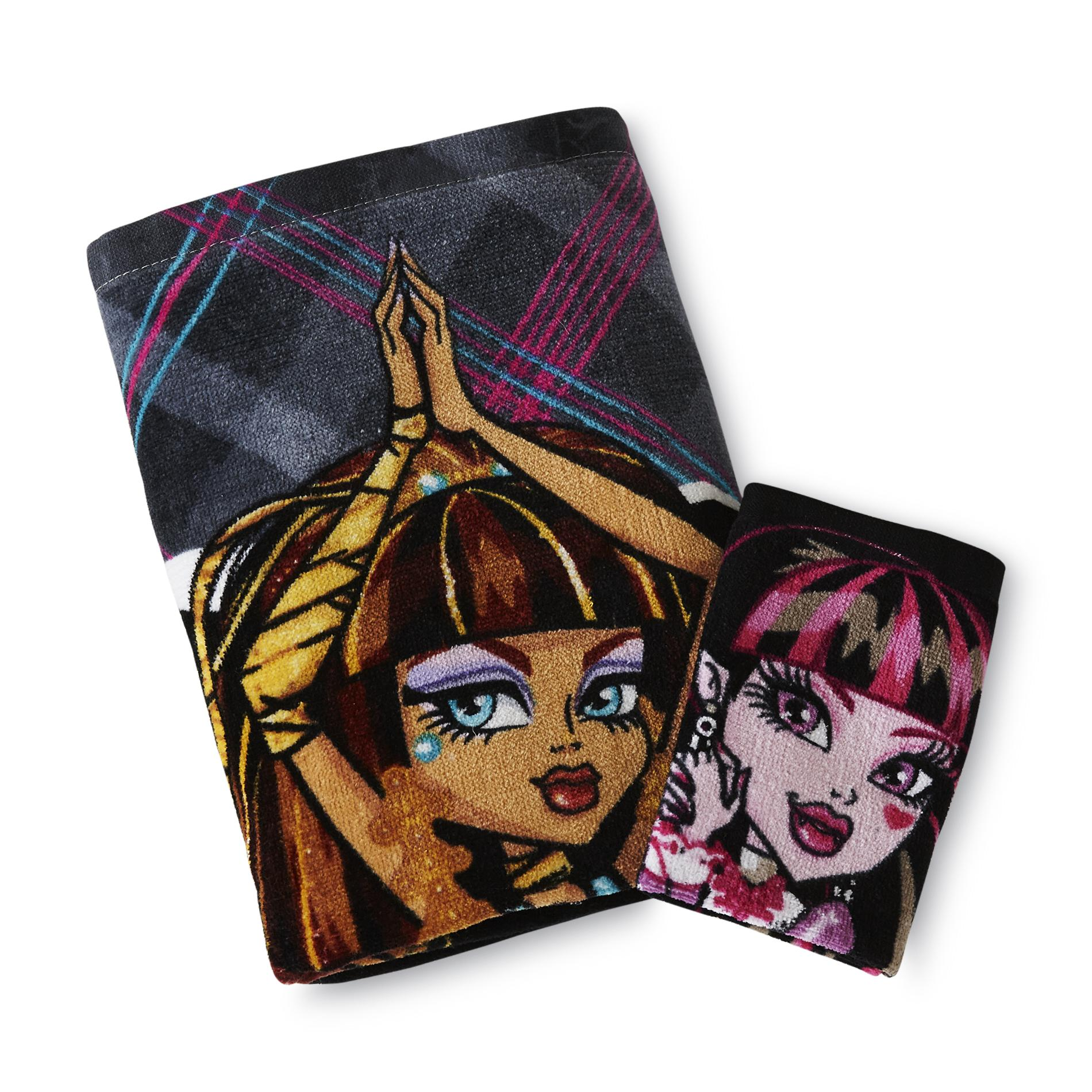 Monster High Bath Towel & Washcloth - Plaid