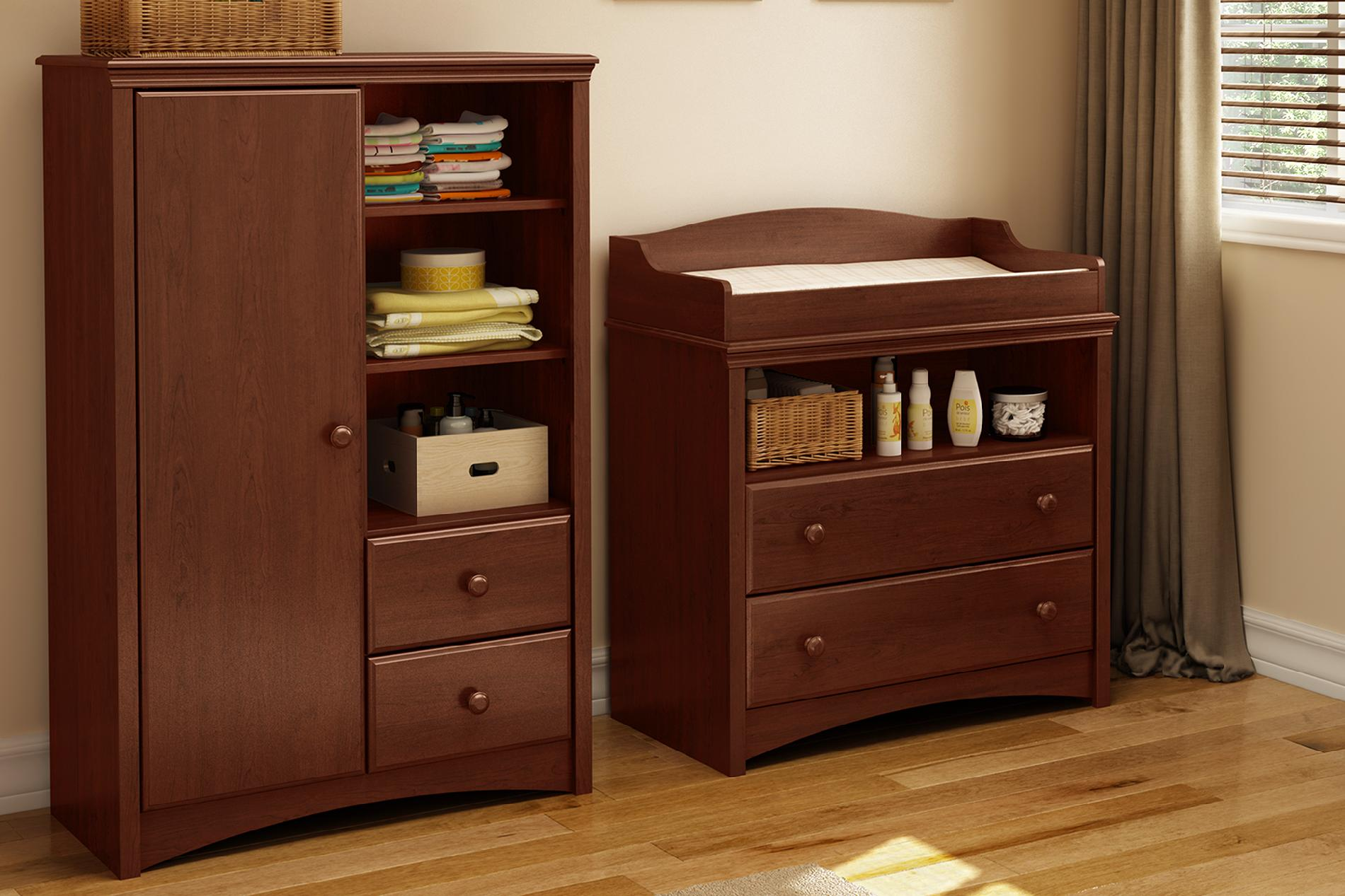 Sweet Morning Changing Table and Armoire with Drawers, Royal Cherry