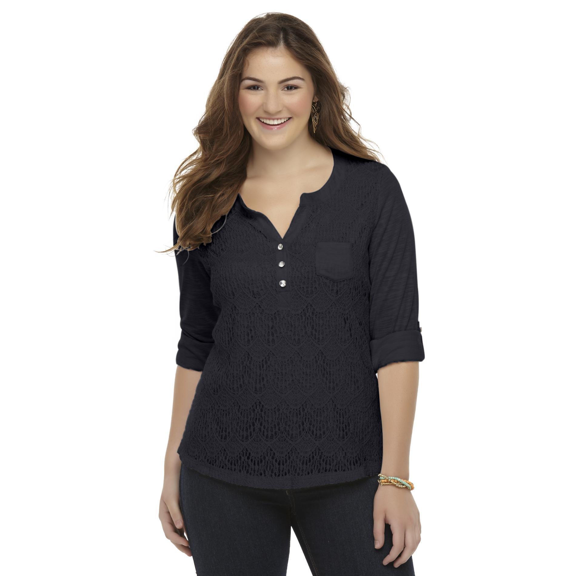 Bongo Plus Junior's Plus Lace Henley Top at Sears.com