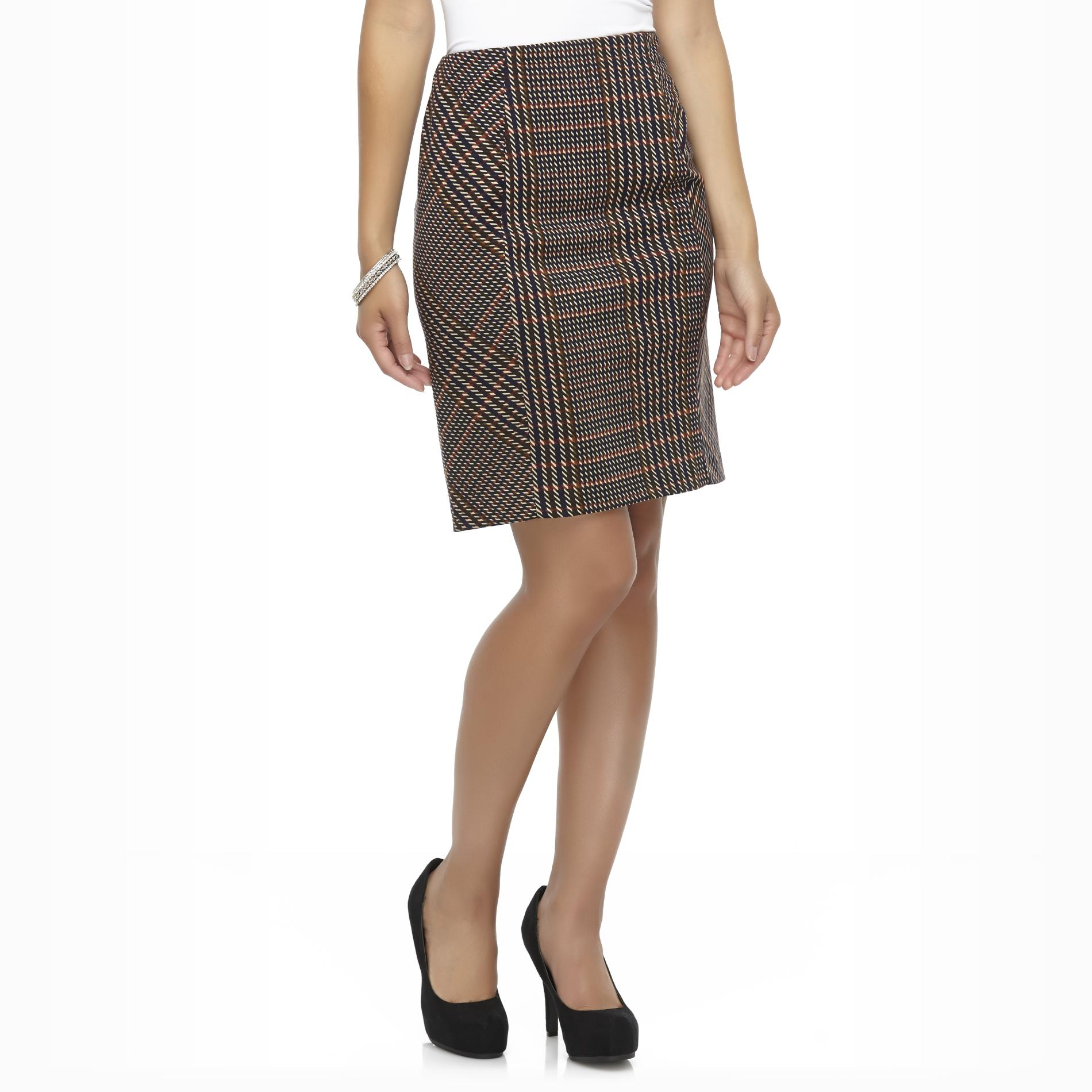 Covington Women's Ponte Knit Pencil Skirt - Plaid at Sears.com
