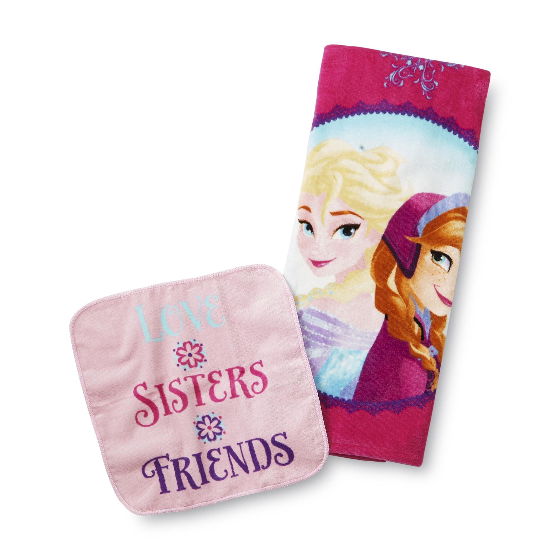 Disney Frozen Elsa & Anna Bath Towel & Washcloth