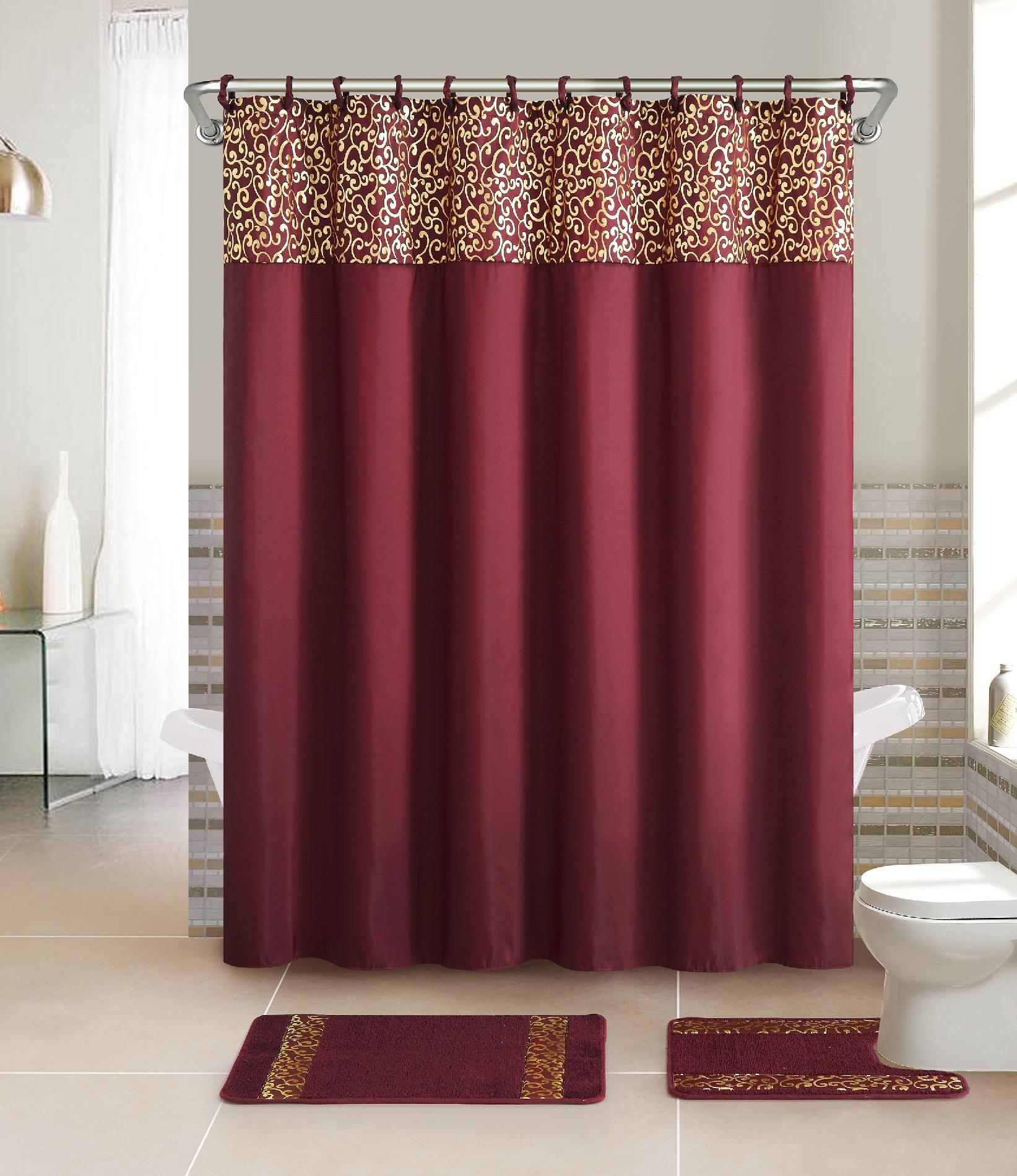 Captivating Essential Home 15 Piece Bath Set   Metalic Scroll Burgundy   Home   Bed U0026  Bath   Bath   Bathroom Accessories   Bath Accessories