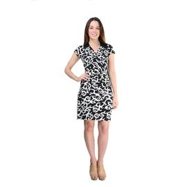 24/7 Comfort Apparel Women's Charcoal and Ivory Flair Printed Dress at Sears.com