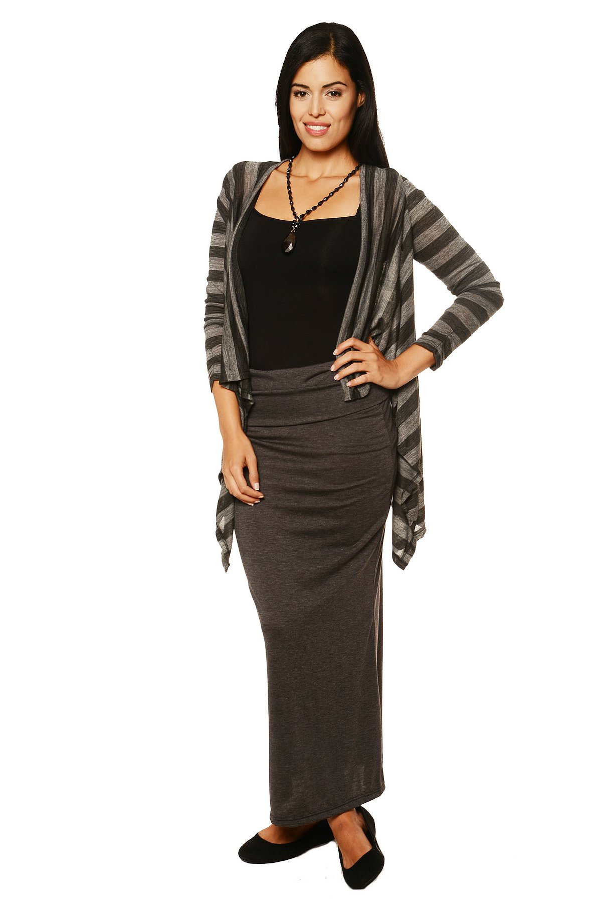 24/7 Comfort Apparel Women's Casual Charcoal Printed Shrug PartNumber: 3ZZVA77172312P MfgPartNumber: 316HST