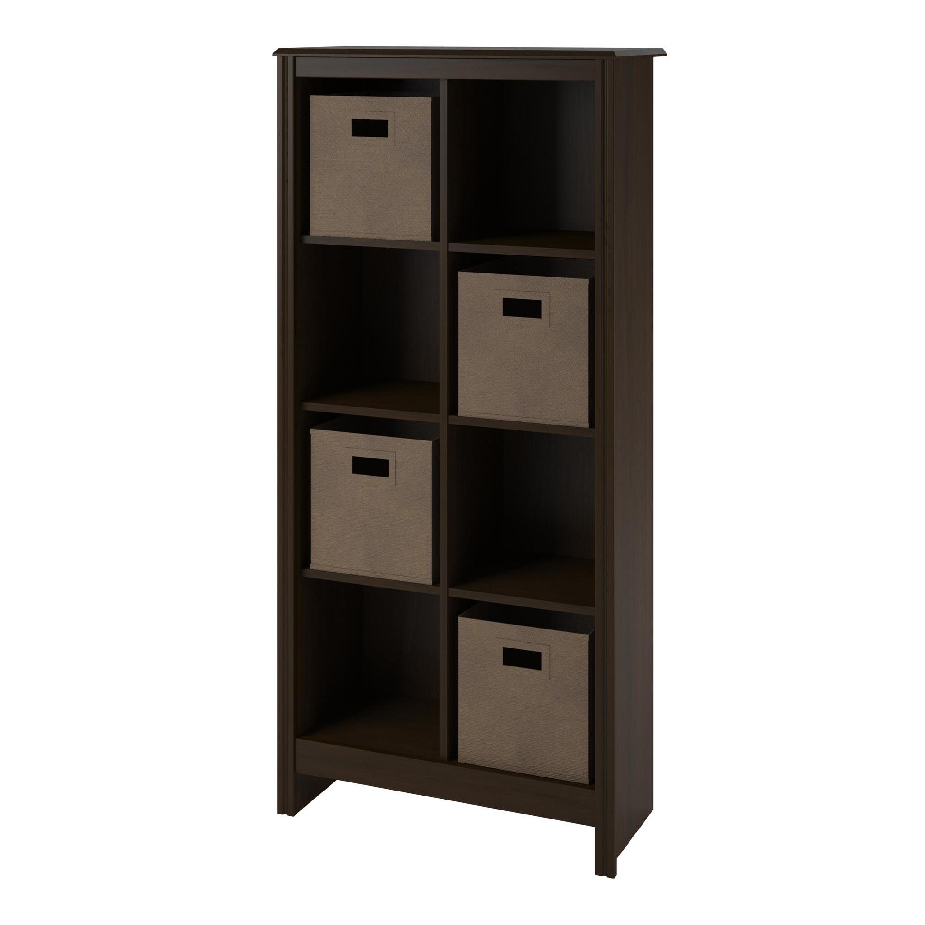 Dorel Home Furnishings 8 Cube Resort Cherry Storage Cubby Bookcase With 2  Storage Bins 1