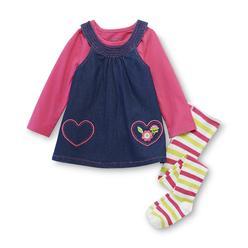 WonderKids Infant Girl's Shirt, Jumper & Knit Tights - Hearts at Kmart.com