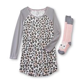 Joe Boxer Women's Pajama Shirt & Socks - Leopard Print at Sears.com