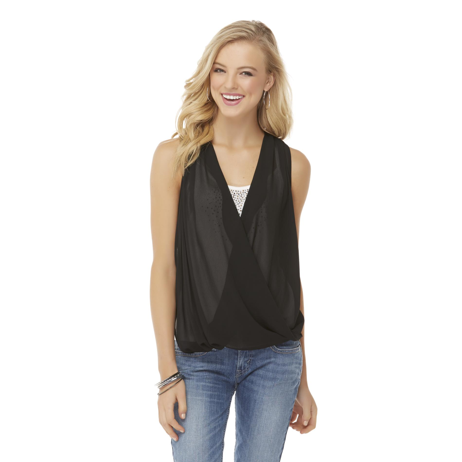 Bongo Junior's Semi-Sheer Surplice Tank Top at Sears.com