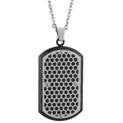 Stainless Steel Cut Out Dog Tag Pendant With Black IP Accent at Kmart.com