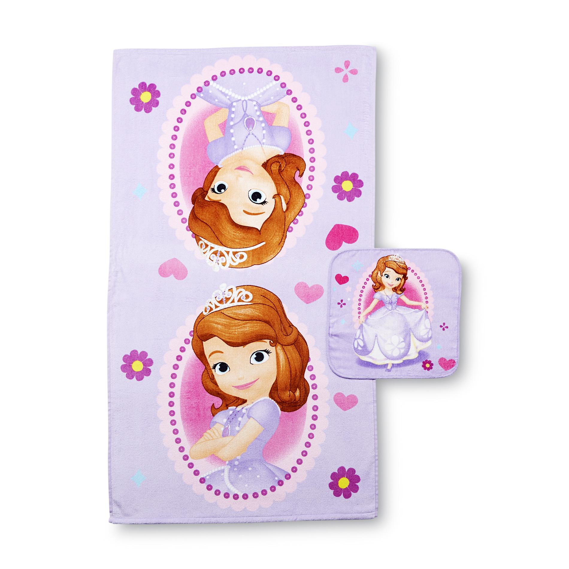 Disney Sofia The First Girl's Bath Towel & Washcloth