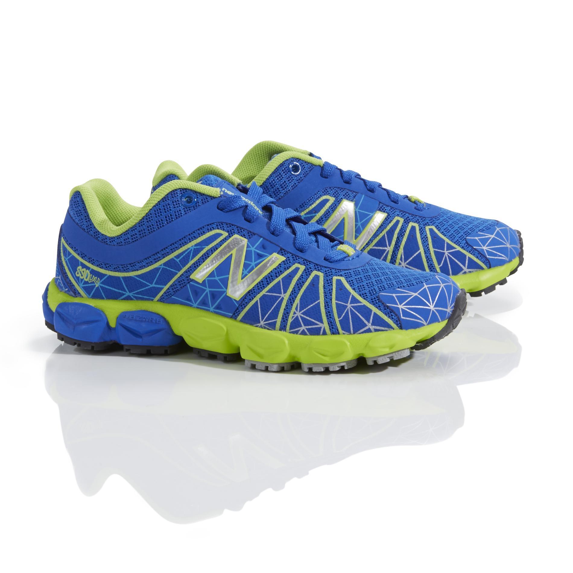 New Balance Boy's 890v4 Blue/Neon Green Running Shoe