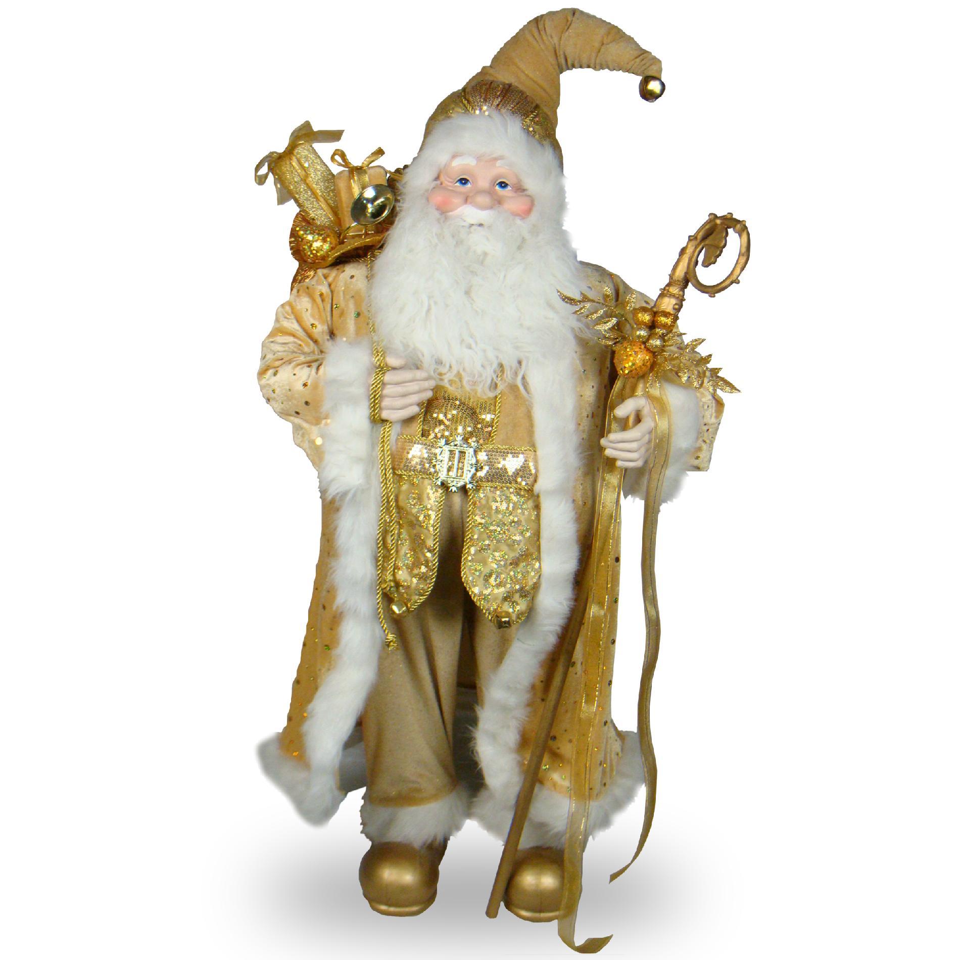 "National Tree Company 36"" Plush Collection Gold Santa"