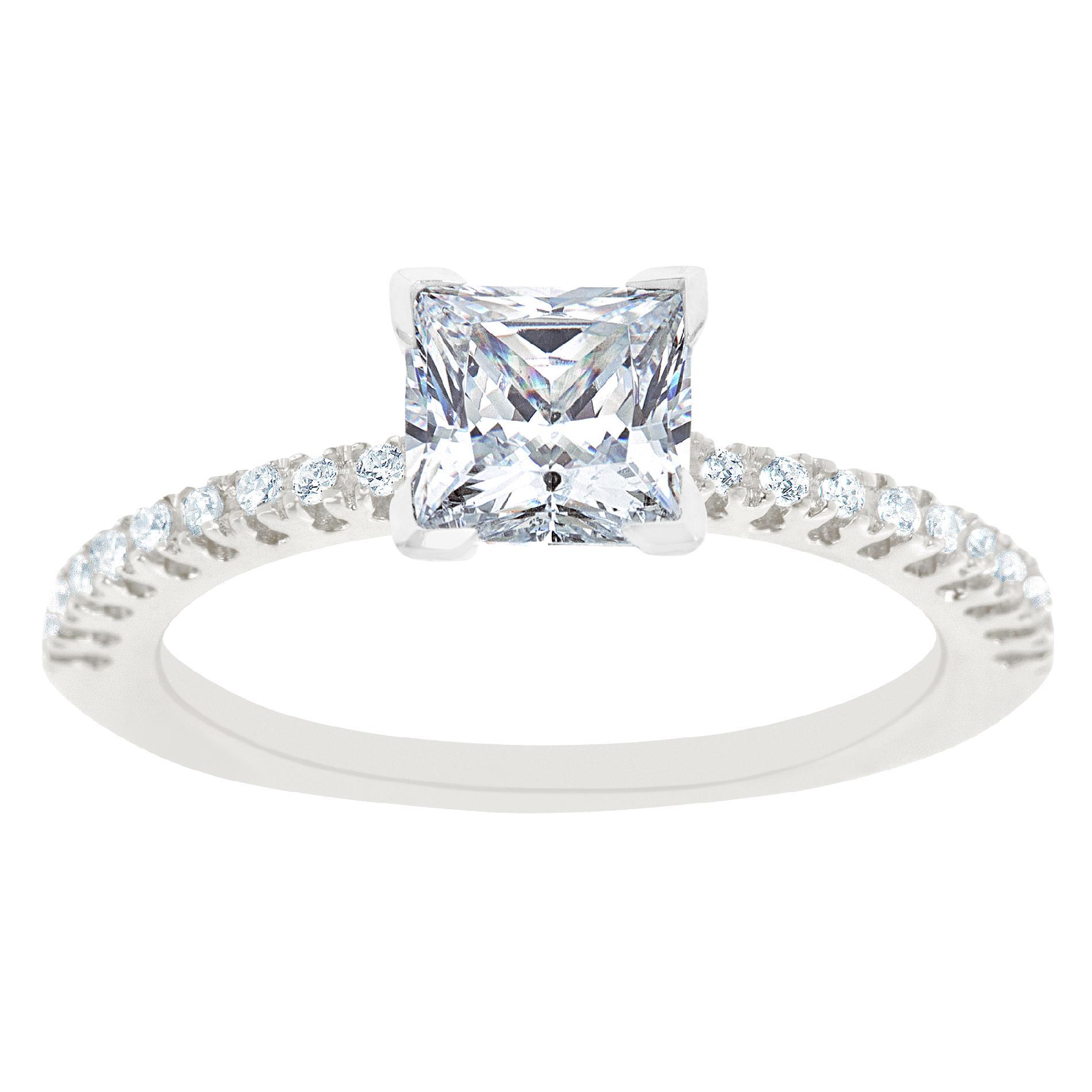 14K White Gold Princess Cut Certified Diamond Engagement Ring