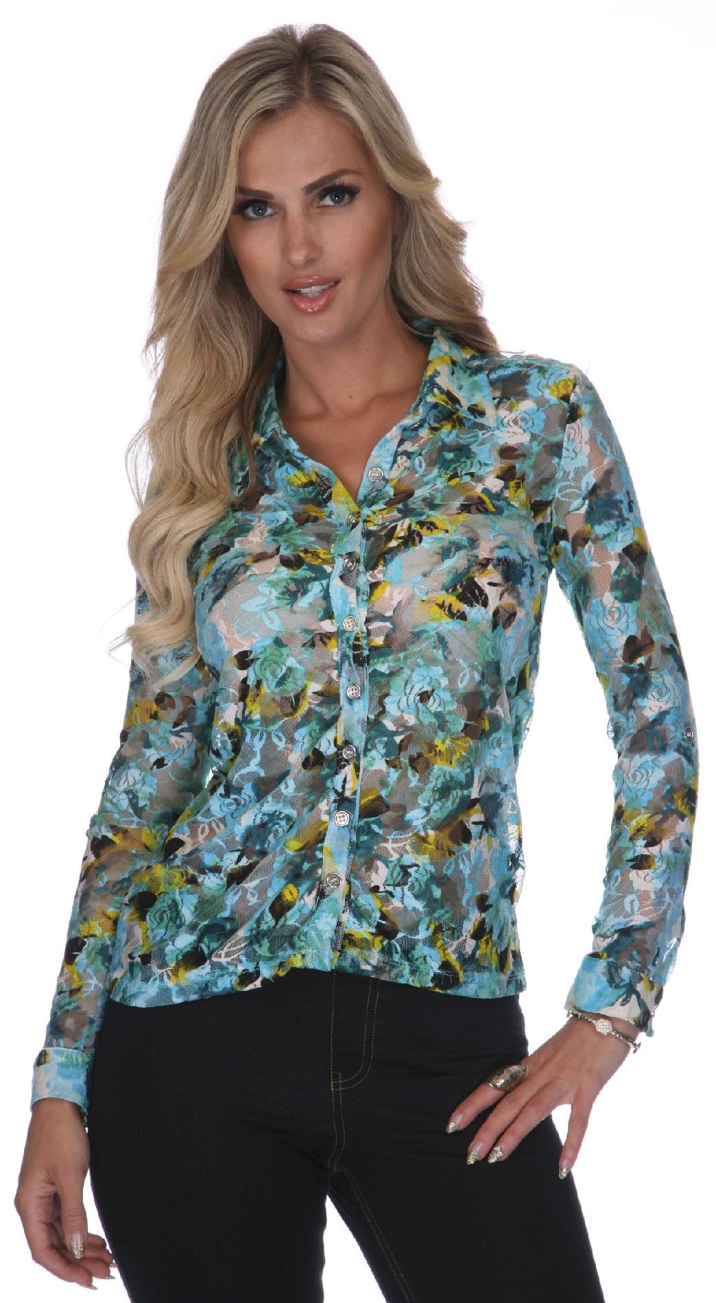 White Mark Women's Teal Floral Lacy Button-Down Shirt