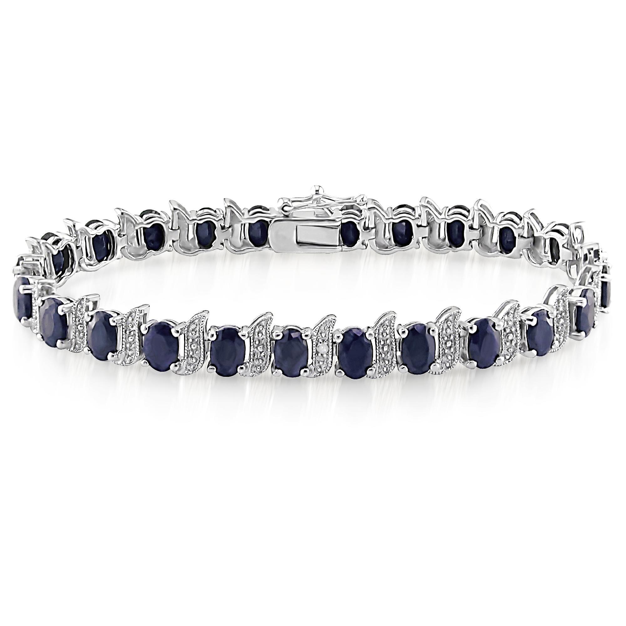 Sterling Silver 14.88 CTTW Black Sapphire with 0.03 CTTW Diamond Bracelet