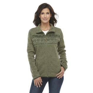 Laura Scott Women's Heathered Fleece Jacket - Fair Isle