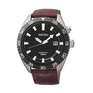 Seiko Mens Black Ion Bezel Brown Leather Strap Kinetic Watch SKA627 at Sears.com